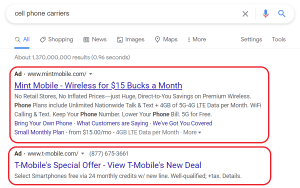 Google Ads Search Example